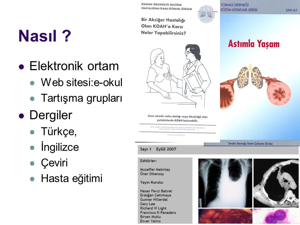 Nasıl ? Elektronik ortam Web sitesi:e-okul Tartışma grupları Dergiler Türkçe, İngilizce Çeviri Hasta eğitimi