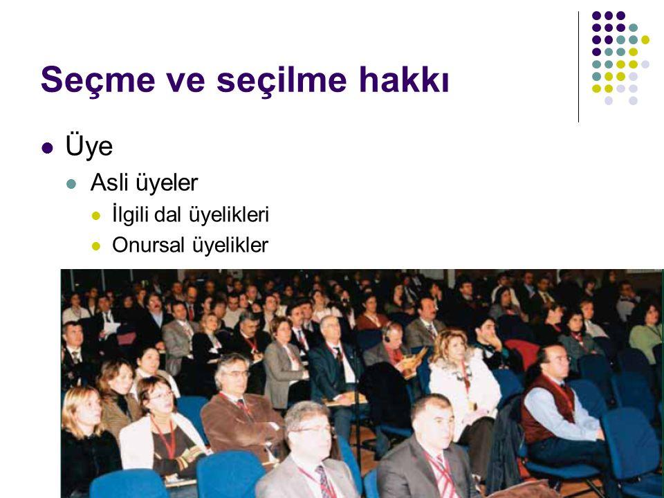 MYK Çalışma grupları Komiteler Şubeler İl temsilcileri Üyeler Ülke sağlığı