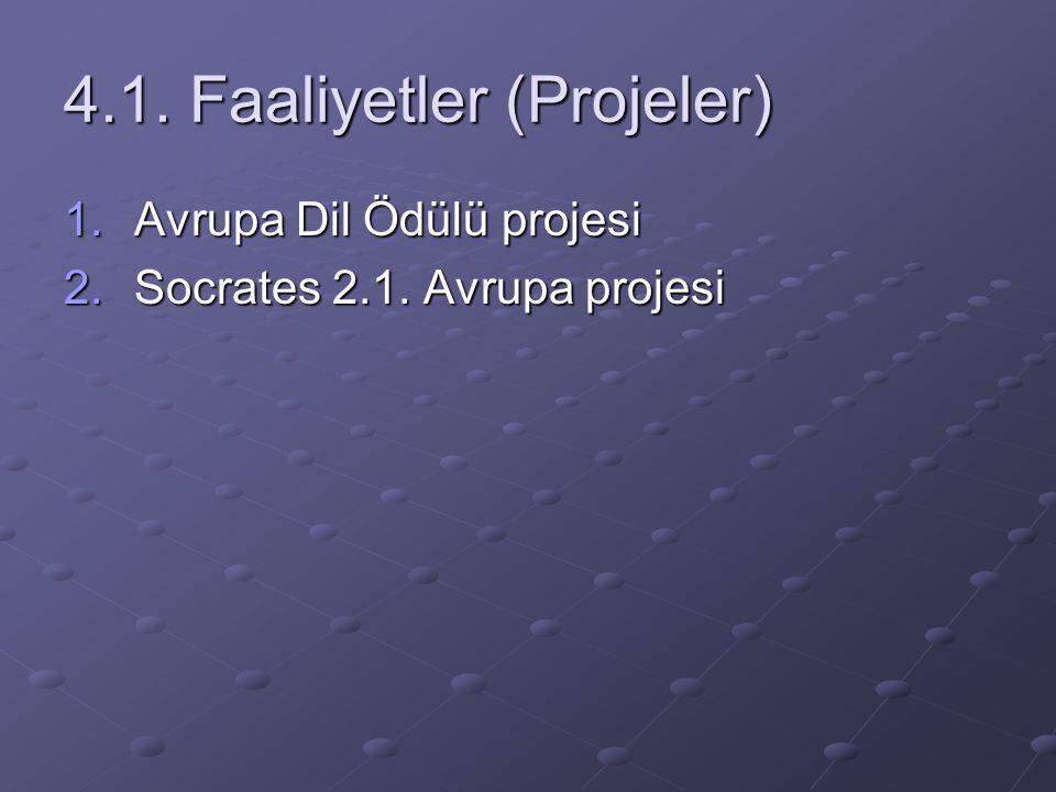 4.1. Faaliyetler (Projeler) 1.Avrupa Dil Ödülü projesi 2.Socrates 2.1. Avrupa projesi