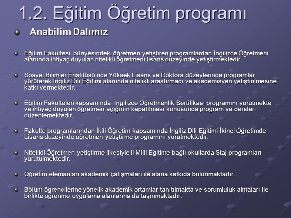 1.2. Eğitim Öğretim programı Anabilim Dalımız Anabilim Dalımız Eğitim Fakültesi bünyesindeki öğretmen yetiştiren programlardan İngilizce Öğretmeni ala