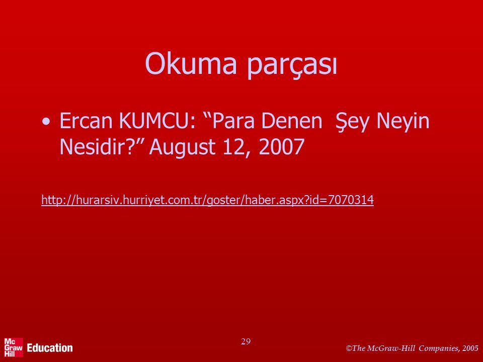 "© The McGraw-Hill Companies, 2005 29 Okuma parçası Ercan KUMCU: ""Para Denen Şey Neyin Nesidir?"" August 12, 2007 http://hurarsiv.hurriyet.com.tr/goster"