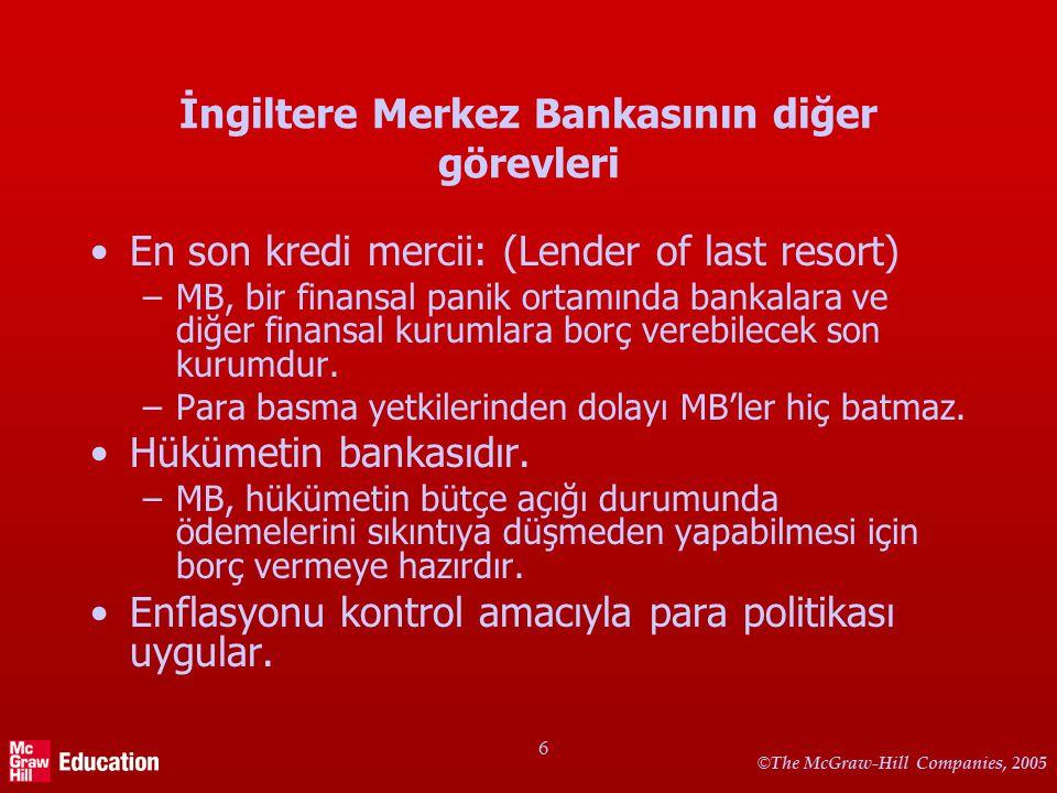 © The McGraw-Hill Companies, 2005 6 İngiltere Merkez Bankasının diğer görevleri En son kredi mercii: (Lender of last resort) –MB, bir finansal panik o
