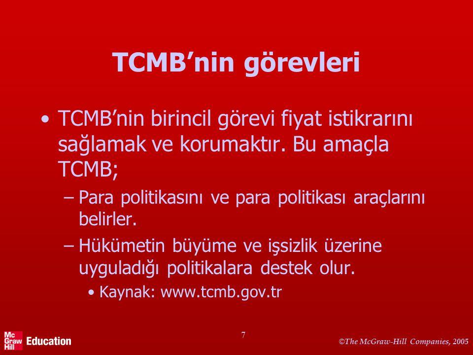 © The McGraw-Hill Companies, 2005 7 TCMB'nin görevleri TCMB'nin birincil görevi fiyat istikrarını sağlamak ve korumaktır. Bu amaçla TCMB; –Para politi