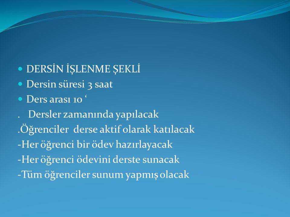 DERSİN İŞLENME ŞEKLİ Dersin süresi 3 saat Ders arası 10 '.