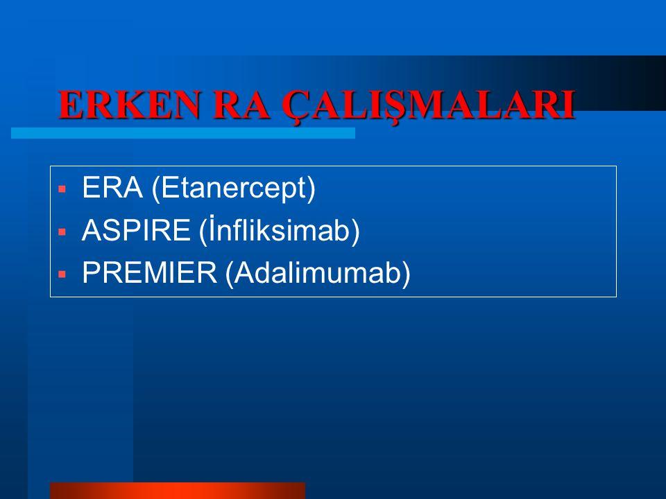 ERKEN RA ÇALIŞMALARI  ERA (Etanercept)  ASPIRE (İnfliksimab)  PREMIER (Adalimumab)