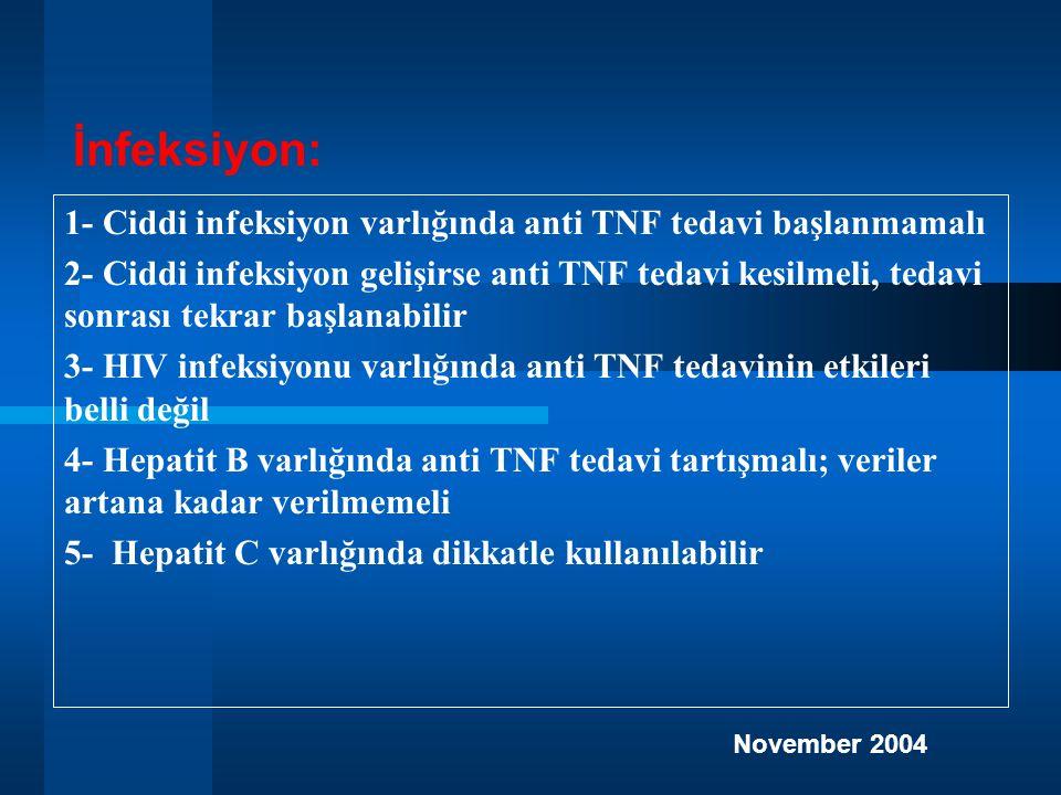 1- Ciddi infeksiyon varlığında anti TNF tedavi başlanmamalı 2- Ciddi infeksiyon gelişirse anti TNF tedavi kesilmeli, tedavi sonrası tekrar başlanabilir 3- HIV infeksiyonu varlığında anti TNF tedavinin etkileri belli değil 4- Hepatit B varlığında anti TNF tedavi tartışmalı; veriler artana kadar verilmemeli 5- Hepatit C varlığında dikkatle kullanılabilir İnfeksiyon: November 2004