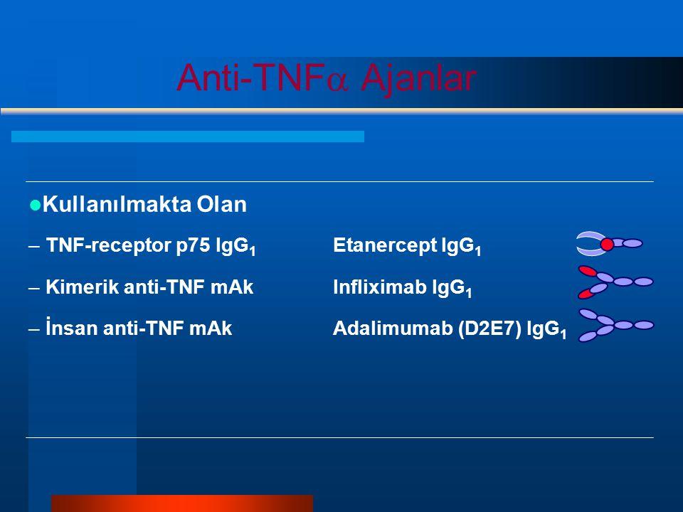 Kullanılmakta Olan –T–TNF-receptor p75 IgG 1 Etanercept IgG 1 –K–Kimerik anti-TNF mAkInfliximab IgG 1 –İ–İnsan anti-TNF mAkAdalimumab (D2E7) IgG 1 Anti-TNF  Ajanlar