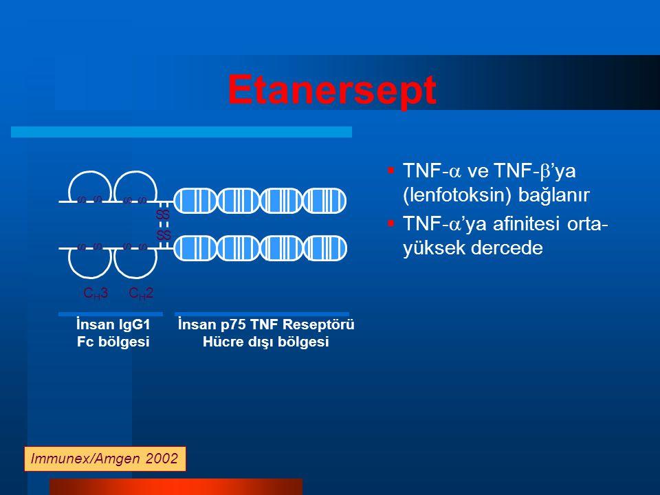 İnsan IgG1 Fc bölgesi İnsan p75 TNF Reseptörü Hücre dışı bölgesi Etanersept  TNF-  ve TNF-  'ya (lenfotoksin) bağlanır  TNF-  'ya afinitesi orta- yüksek dercede CH3CH3CH2CH2 SS S S S S S S SS S S Immunex/Amgen 2002
