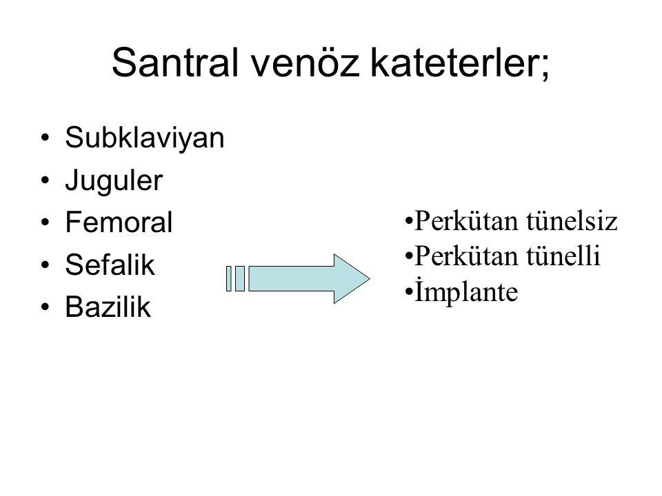 Santral venöz kateterler; Subklaviyan Juguler Femoral Sefalik Bazilik Perkütan tünelsiz Perkütan tünelli İmplante