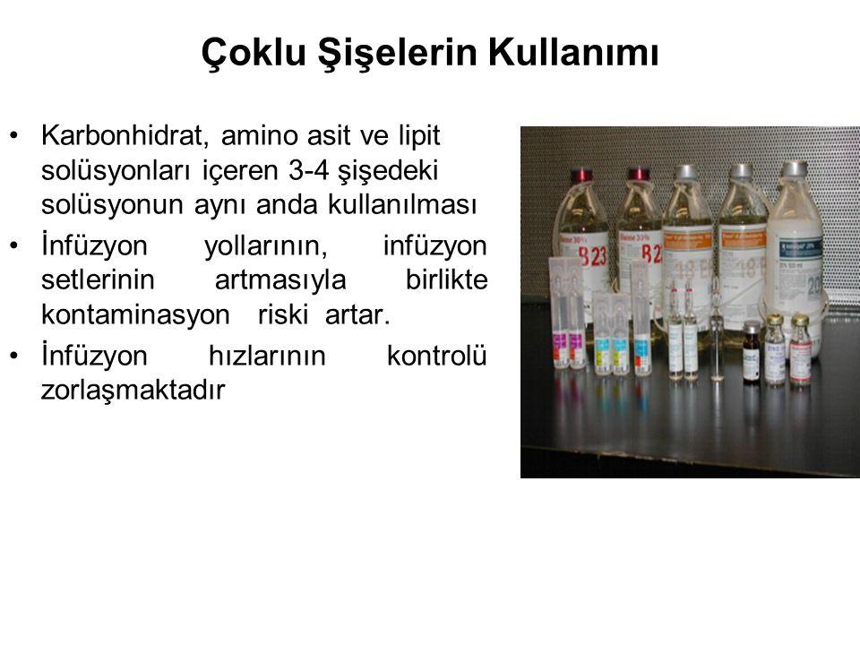 Çoklu Şişelerin Kullanımı Karbonhidrat, amino asit ve lipit solüsyonları içeren 3-4 şişedeki solüsyonun aynı anda kullanılması İnfüzyon yollarının, in