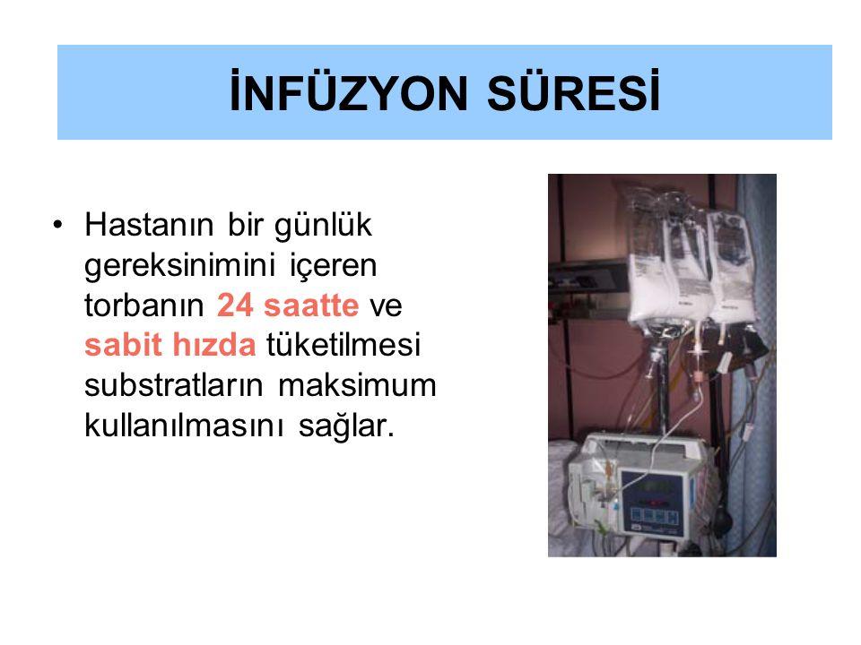 Hastanın bir günlük gereksinimini içeren torbanın 24 saatte ve sabit hızda tüketilmesi substratların maksimum kullanılmasını sağlar. İNFÜZYON SÜRESİ