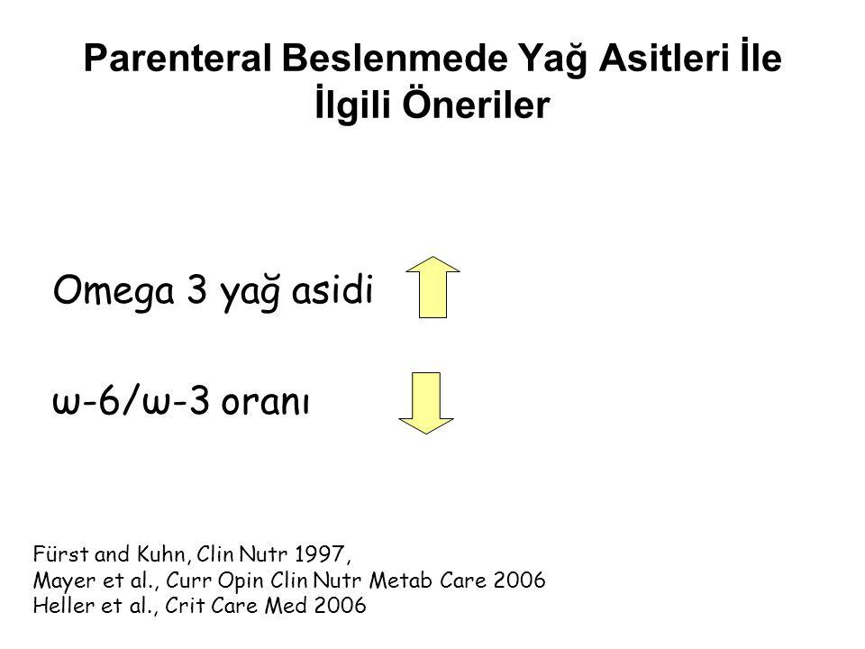 Parenteral Beslenmede Yağ Asitleri İle İlgili Öneriler Omega 3 yağ asidi ω-6/ω-3 oranı Fürst and Kuhn, Clin Nutr 1997, Mayer et al., Curr Opin Clin Nu