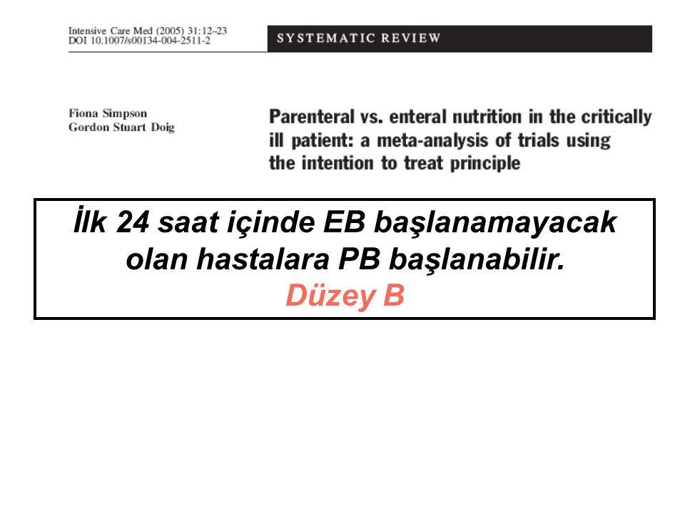 Parenteral Beslenmede ESPEN Klavuz-YB Glukoz 2- 6 g/kg/gün Derece B Hiperglisemiden kaçın Derece A Lipid 0.7-1.5 g/kg/gün Derece B Aminoasit 1.3-1.5 g/kg ideal VA/gün Derece A Günlük mikronütrientler ve eser elementler Derece C