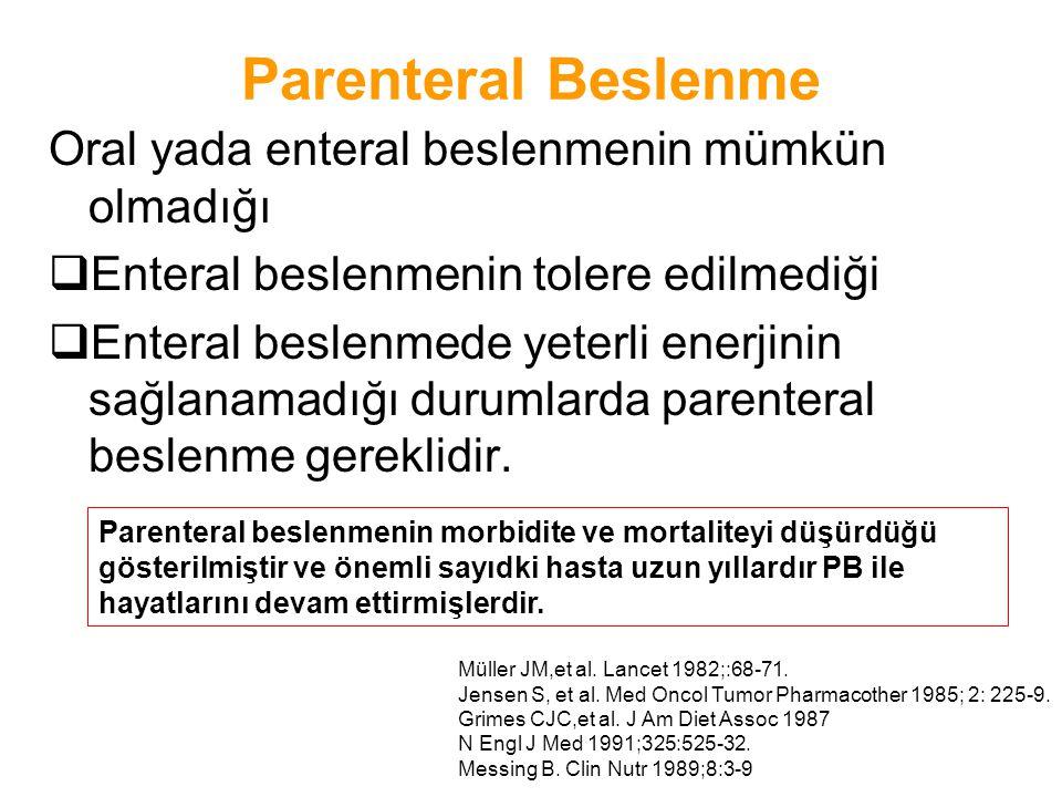 Parenteral Beslenme Hastanın malnütrisyona düşmeden yaşamını sürdürebilmesi veya malnütrisyonda ise bu durumdan kurtarılması amacıyla hasta için gerekli besin maddelerinin yeterli ölçüde ve dengeli olarak kısmen veya tamamen parenteral yolla verilmesidir