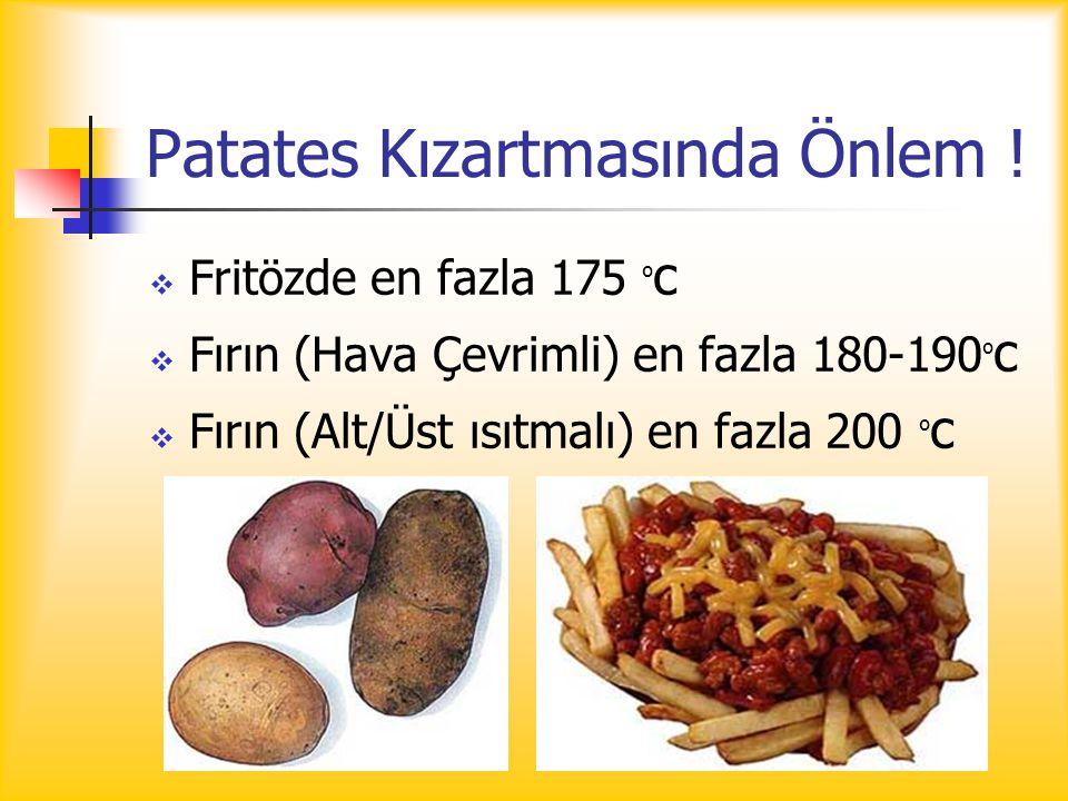 Patates Kızartmasında Önlem !  Fritözde en fazla 175 º c  Fırın (Hava Çevrimli) en fazla 180-190 º c  Fırın (Alt/Üst ısıtmalı) en fazla 200 º c