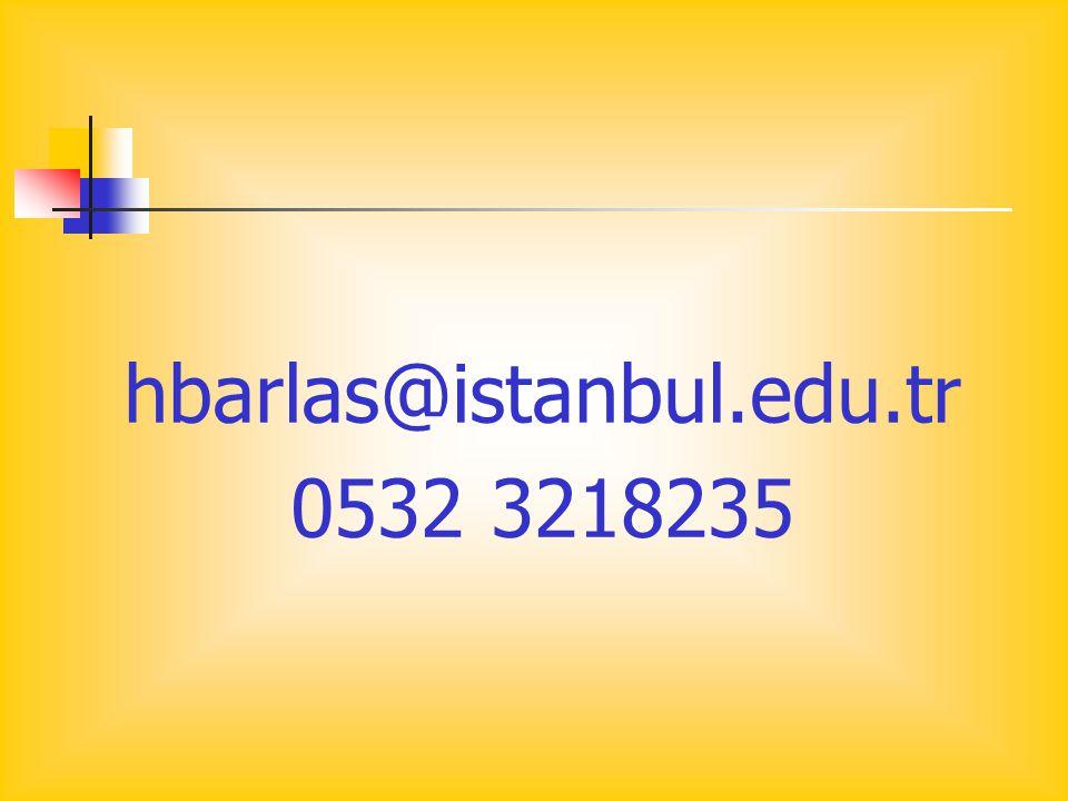 hbarlas@istanbul.edu.tr 0532 3218235