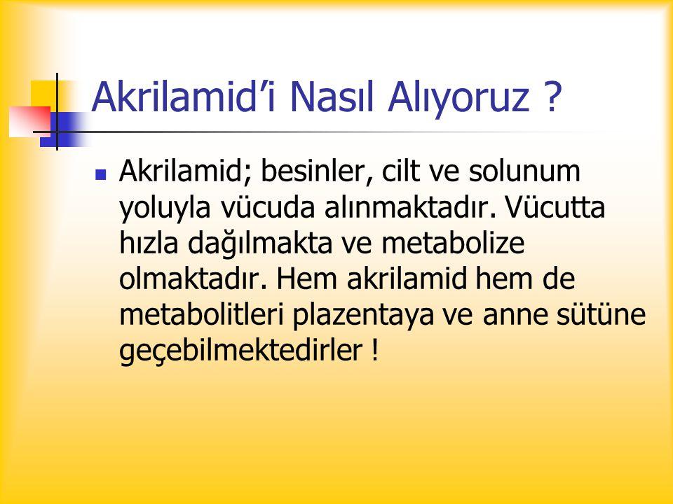 Akrilamid'i Nasıl Alıyoruz ? Akrilamid; besinler, cilt ve solunum yoluyla vücuda alınmaktadır. Vücutta hızla dağılmakta ve metabolize olmaktadır. Hem