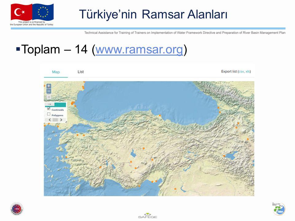Türkiye'nin Ramsar Alanları  Toplam – 14 (www.ramsar.org)www.ramsar.org