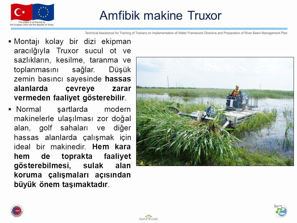 Amfibik makine Truxor  Montajı kolay bir dizi ekipman aracılğıyla Truxor sucul ot ve sazlıkların, kesilme, taranma ve toplanmasını sağlar. Düşük zemi