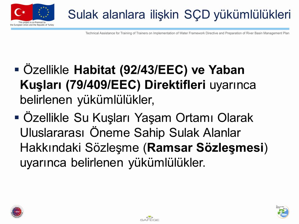Sulak alanlara ilişkin SÇD yükümlülükleri  Özellikle Habitat (92/43/EEC) ve Yaban Kuşları (79/409/EEC) Direktifleri uyarınca belirlenen yükümlülükler