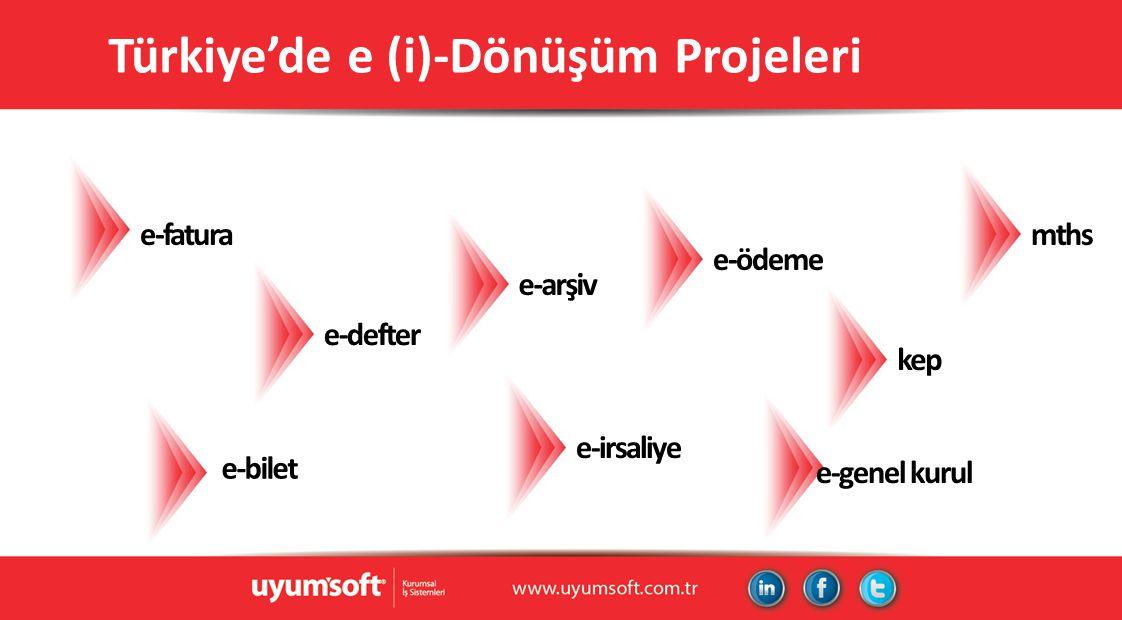 Türkiye'de e (i)-Dönüşüm Projeleri e-fatura e-irsaliye e-bilet e-arşiv e-genel kurul kep mths e-ödeme e-defter