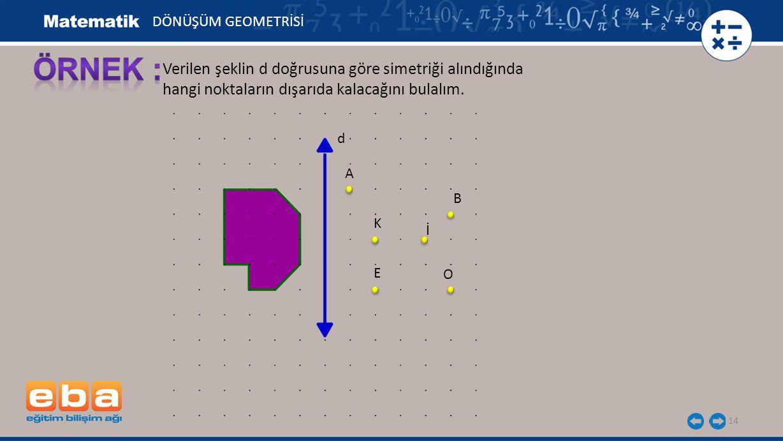 14 Verilen şeklin d doğrusuna göre simetriği alındığında hangi noktaların dışarıda kalacağını bulalım. d A B K İ E O DÖNÜŞÜM GEOMETRİSİ