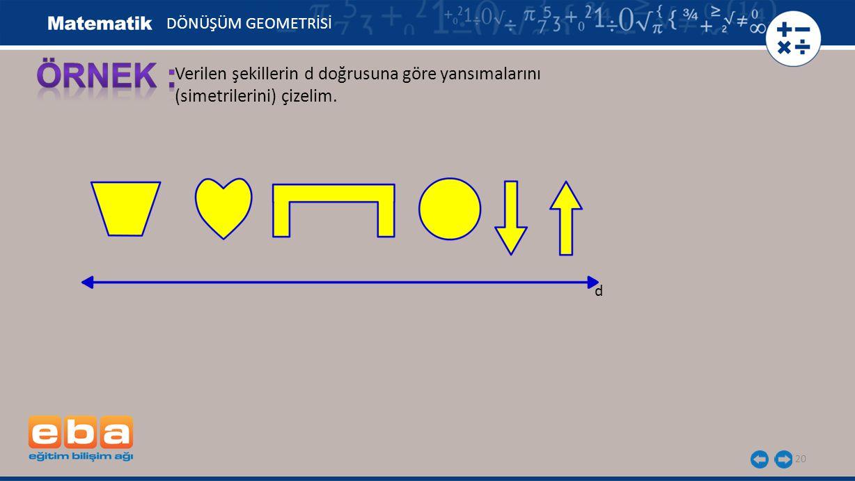 20 Verilen şekillerin d doğrusuna göre yansımalarını (simetrilerini) çizelim. d DÖNÜŞÜM GEOMETRİSİ