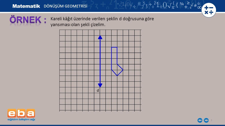 3 Kareli kâğıt üzerinde verilen şeklin d doğrusuna göre yansıması olan şekli çizelim. d DÖNÜŞÜM GEOMETRİSİ