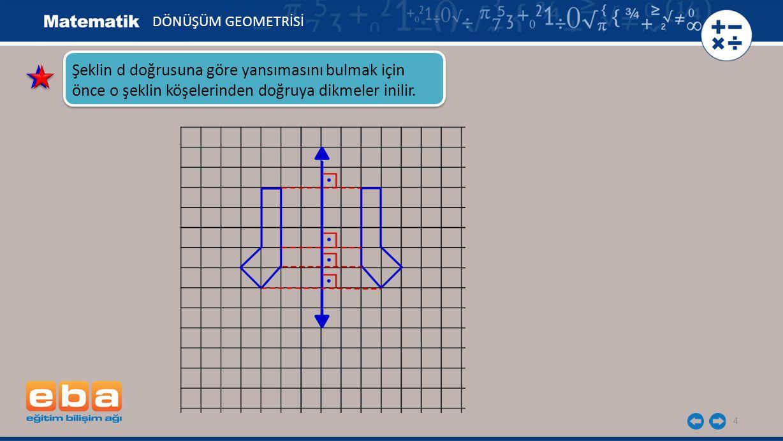 5 Daha sonra doğrunun diğer tarafında, bu dikmelerin uzunluğu ile aynı uzunlukta dikmeler çizerek simetri noktaları bulunur.