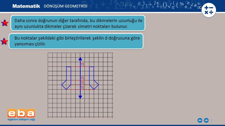 5 Daha sonra doğrunun diğer tarafında, bu dikmelerin uzunluğu ile aynı uzunlukta dikmeler çizerek simetri noktaları bulunur. Bu noktalar şekildeki gib