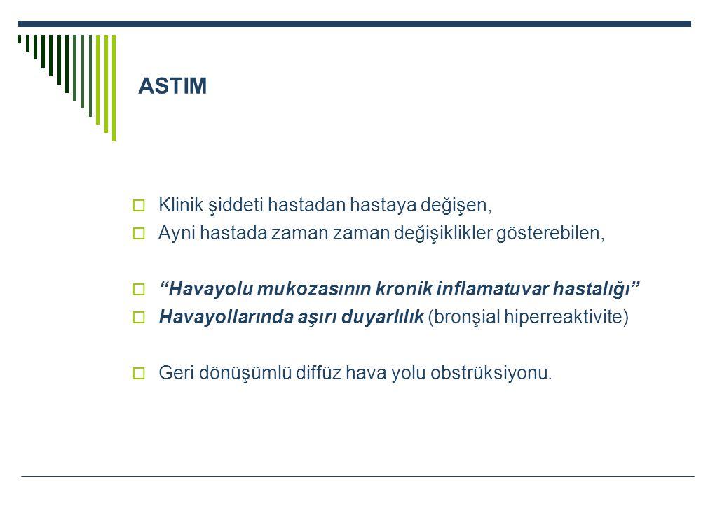 """ASTIM  Klinik şiddeti hastadan hastaya değişen,  Ayni hastada zaman zaman değişiklikler gösterebilen,  """"Havayolu mukozasının kronik inflamatuvar ha"""