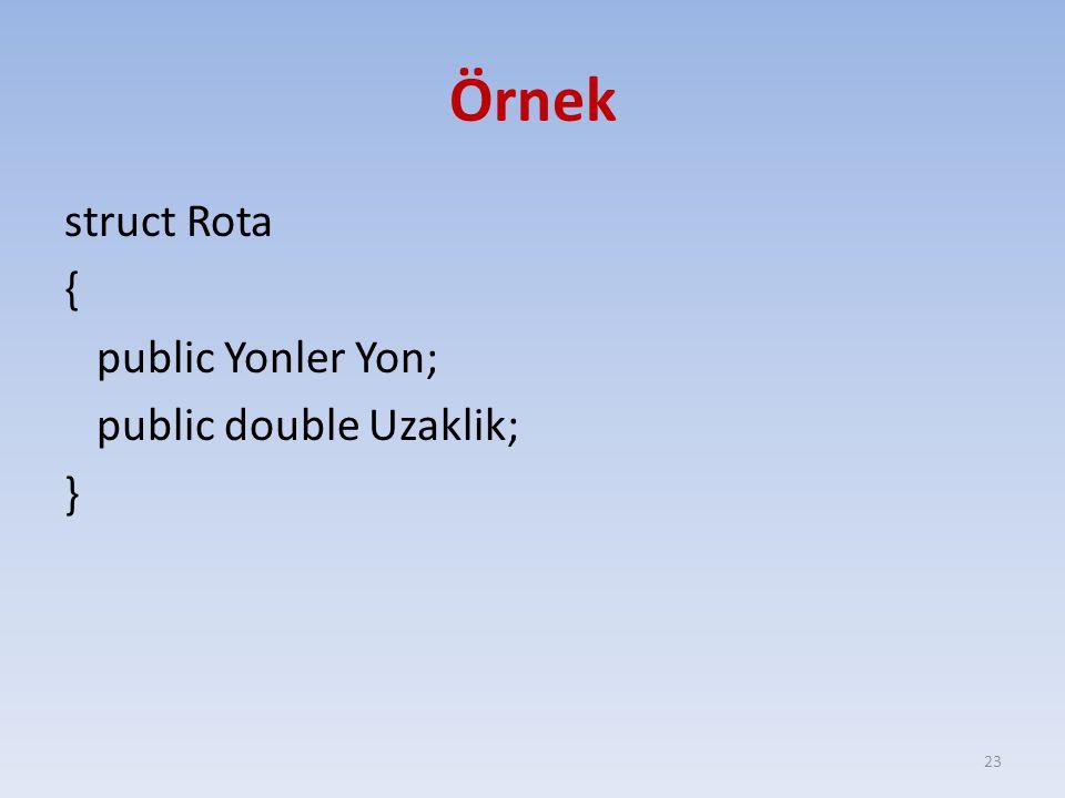 Örnek struct Rota { public Yonler Yon; public double Uzaklik; } 23