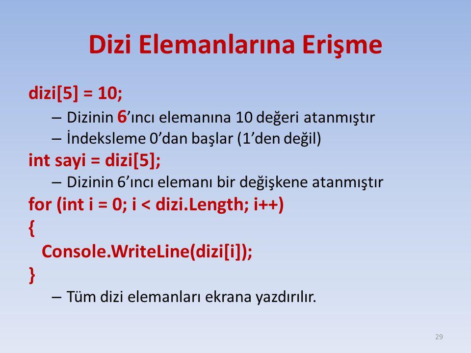 Dizi Elemanlarına Erişme dizi[5] = 10; – Dizinin 6 'ıncı elemanına 10 değeri atanmıştır – İndeksleme 0'dan başlar (1'den değil) int sayi = dizi[5]; – Dizinin 6'ıncı elemanı bir değişkene atanmıştır for (int i = 0; i < dizi.Length; i++) { Console.WriteLine(dizi[i]); } – Tüm dizi elemanları ekrana yazdırılır.