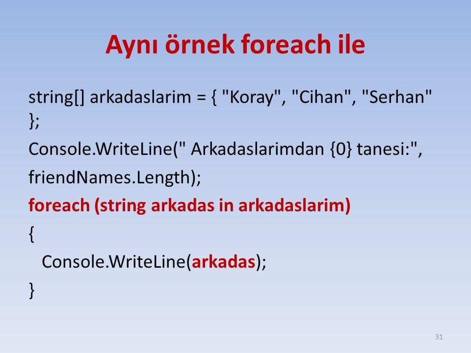 Aynı örnek foreach ile string[] arkadaslarim = { Koray , Cihan , Serhan }; Console.WriteLine( Arkadaslarimdan {0} tanesi: , friendNames.Length); foreach (string arkadas in arkadaslarim) { Console.WriteLine(arkadas); } 31