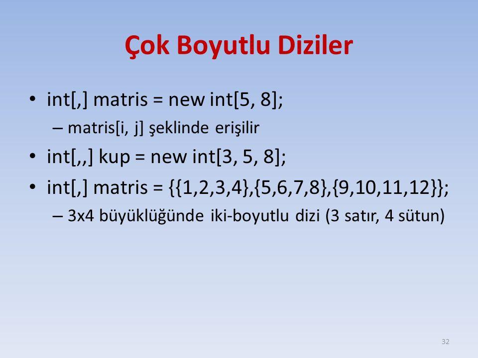 Çok Boyutlu Diziler int[,] matris = new int[5, 8]; – matris[i, j] şeklinde erişilir int[,,] kup = new int[3, 5, 8]; int[,] matris = {{1,2,3,4},{5,6,7,8},{9,10,11,12}}; – 3x4 büyüklüğünde iki-boyutlu dizi (3 satır, 4 sütun) 32