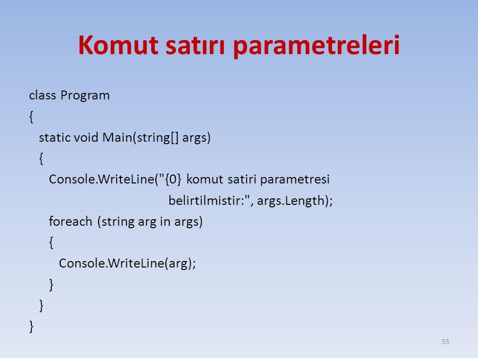 Komut satırı parametreleri class Program { static void Main(string[] args) { Console.WriteLine( {0} komut satiri parametresi belirtilmistir: , args.Length); foreach (string arg in args) { Console.WriteLine(arg); } 55
