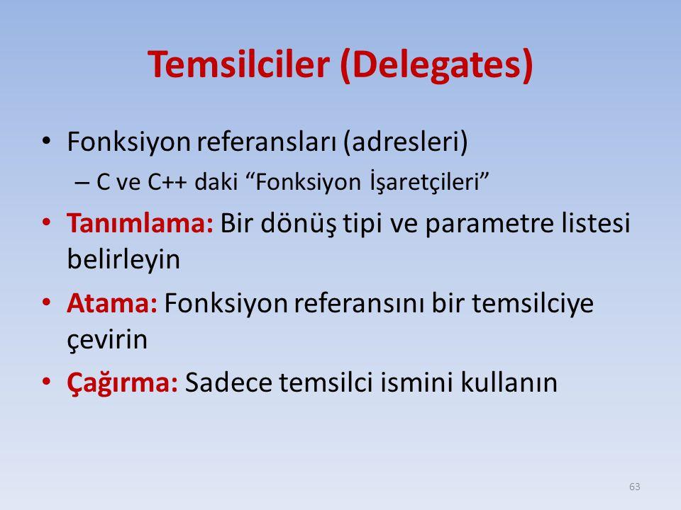 Temsilciler (Delegates) Fonksiyon referansları (adresleri) – C ve C++ daki Fonksiyon İşaretçileri Tanımlama: Bir dönüş tipi ve parametre listesi belirleyin Atama: Fonksiyon referansını bir temsilciye çevirin Çağırma: Sadece temsilci ismini kullanın 63