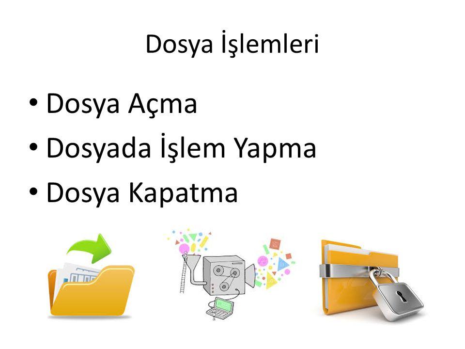 Dosya İşlemleri - Dosya Açma fopen() Fonksiyonu fopen(DosyaAdı, Açma Kipi) DosyaAdı ile belirtilen dosyayı belirtilen kipe göre kullanıma açar