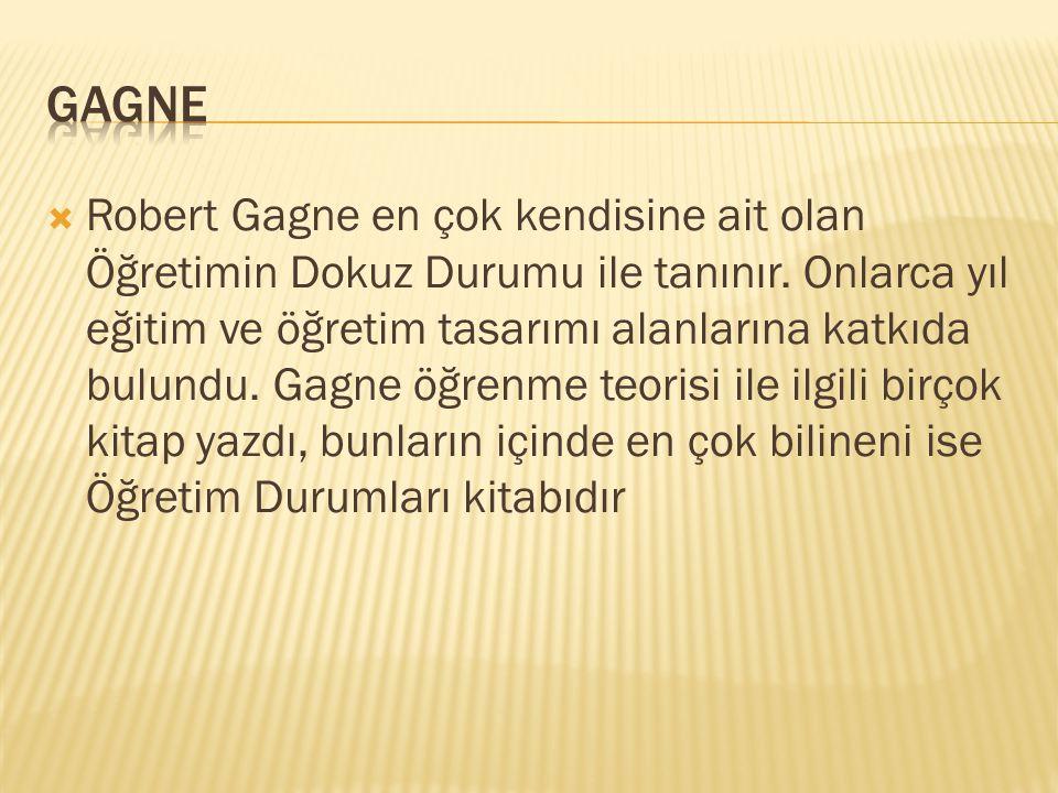  Robert Gagne en çok kendisine ait olan Öğretimin Dokuz Durumu ile tanınır.