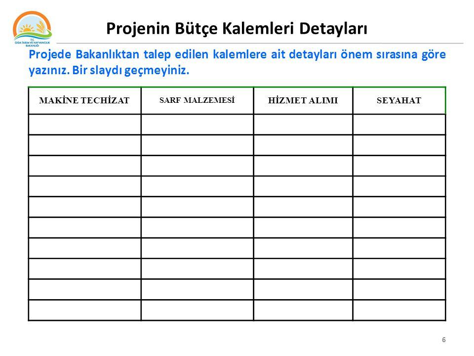 Projenin Bütçe Kalemleri Detayları 6 Projede Bakanlıktan talep edilen kalemlere ait detayları önem sırasına göre yazınız.