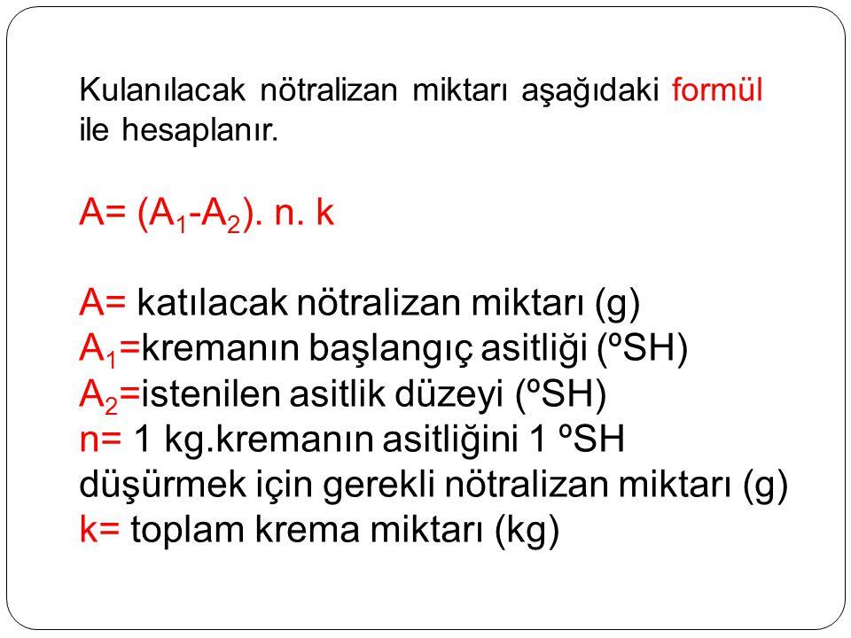 Kulanılacak nötralizan miktarı aşağıdaki formül ile hesaplanır. A= (A 1 -A 2 ). n. k A= katılacak nötralizan miktarı (g) A 1 =kremanın başlangıç asitl
