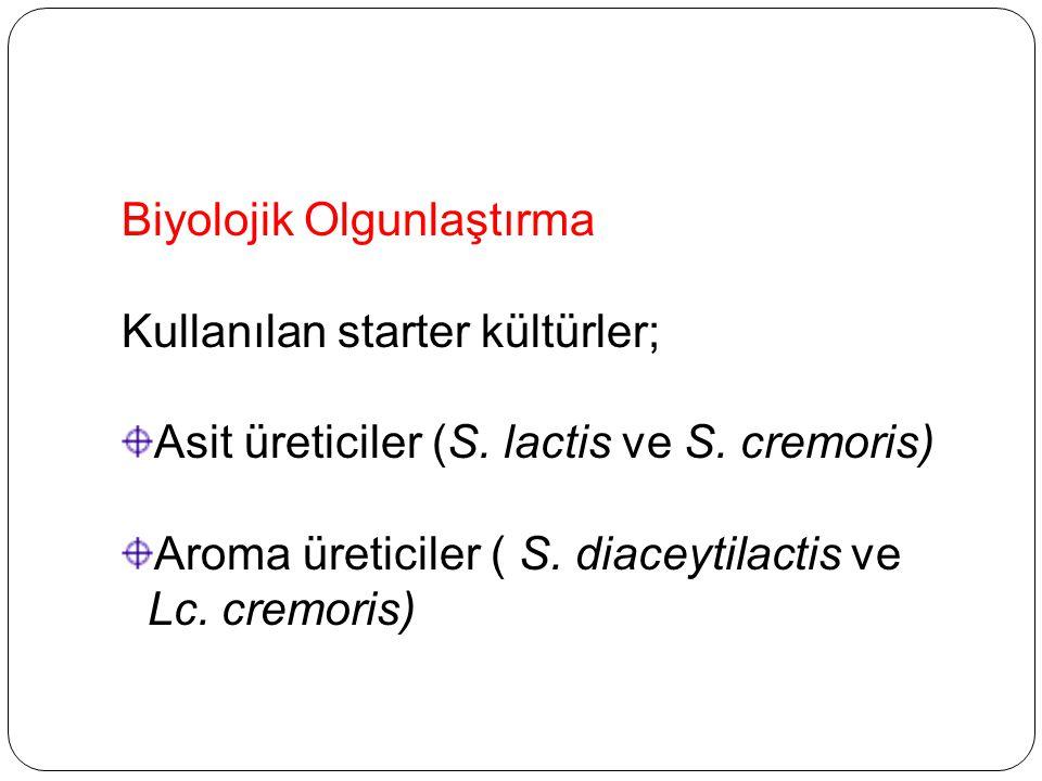 Biyolojik Olgunlaştırma Kullanılan starter kültürler; Asit üreticiler (S. lactis ve S. cremoris) Aroma üreticiler ( S. diaceytilactis ve Lc. cremoris)