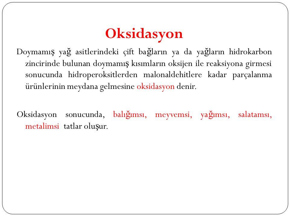 Oksidasyon Doymamı ş ya ğ asitlerindeki çift ba ğ ların ya da ya ğ ların hidrokarbon zincirinde bulunan doymamı ş kısımların oksijen ile reaksiyona gi