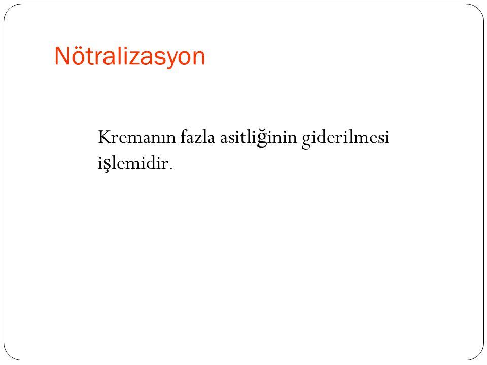 Nötralizasyon Kremanın fazla asitli ğ inin giderilmesi i ş lemidir.