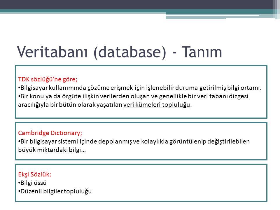 Veritabanı (database) - Tanım Cambridge Dictionary; Bir bilgisayar sistemi içinde depolanmış ve kolaylıkla görüntülenip değiştirilebilen büyük miktard