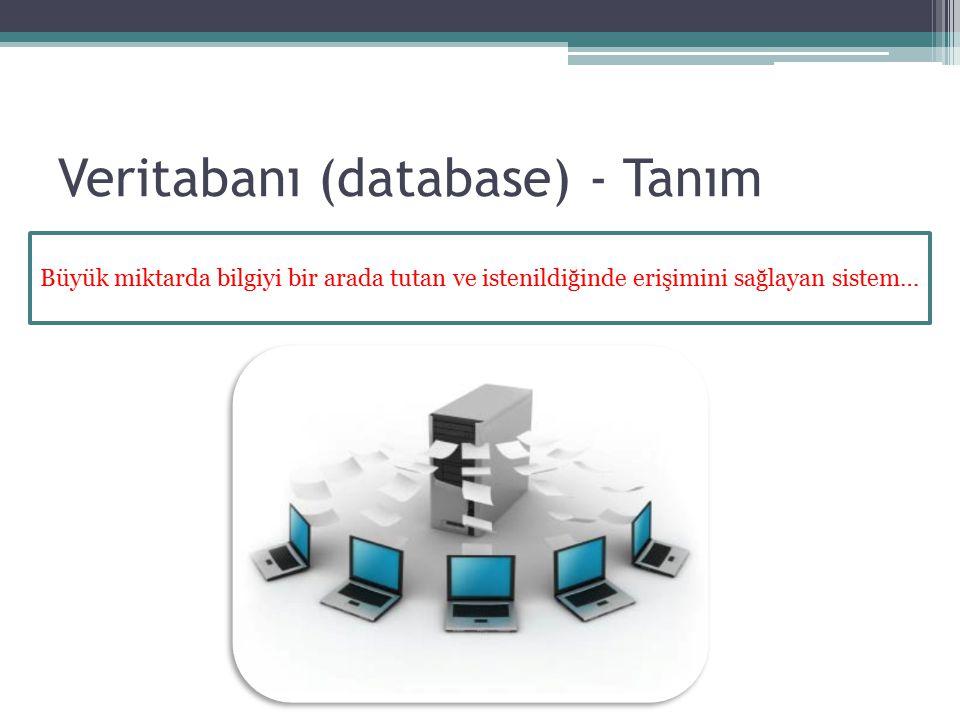 Veritabanı (database) - Tanım Büyük miktarda bilgiyi bir arada tutan ve istenildiğinde erişimini sağlayan sistem…