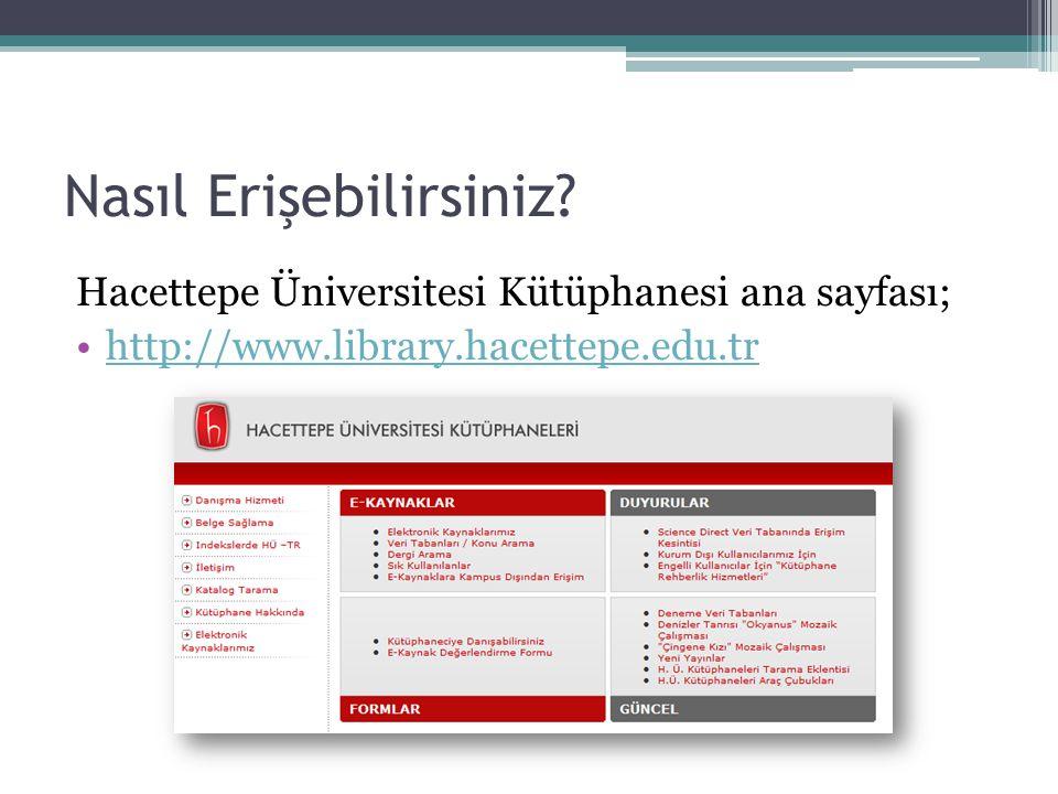 Nasıl Erişebilirsiniz? Hacettepe Üniversitesi Kütüphanesi ana sayfası; http://www.library.hacettepe.edu.tr