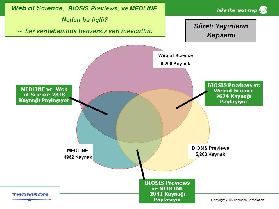 Copyright 2006 Thomson Corporation 12 Web of Science 9,200 Kaynak MEDLINE ve Web of Science 2818 Kaynağı Paylaşıyor BIOSIS Previews ve Web of Science 2624 Kaynağı Paylaşıyor BIOSIS Previews ve MEDLINE 2043 Kaynağı Paylaşıyor BIOSIS Previews 5,200 Kaynak Süreli Yayınların Kapsamı Web of Science, BIOSIS Previews, ve MEDLINE.