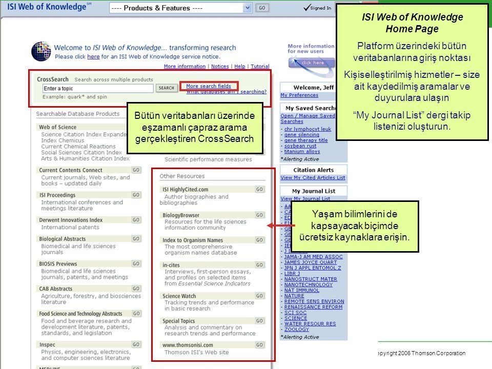 Copyright 2006 Thomson Corporation 14 ISI Web of Knowledge Home Page Platform üzerindeki bütün veritabanlarına giriş noktası Kişiselleştirilmiş hizmetler – size ait kaydedilmiş aramalar ve duyurulara ulaşın My Journal List dergi takip listenizi oluşturun.