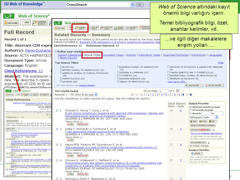 Copyright 2006 Thomson Corporation Web of Science altındaki kayıt önemli bilgi varlığını içerir.